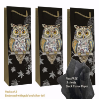 Owl Bottle Gift Bags, Gold Foil Art Embossed, Pack of 3